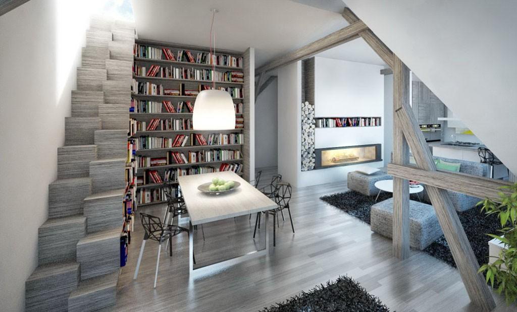 zdjęcie przedstawia salon, bibliotekę w apartamencie do sprzedaży w Szczecinie