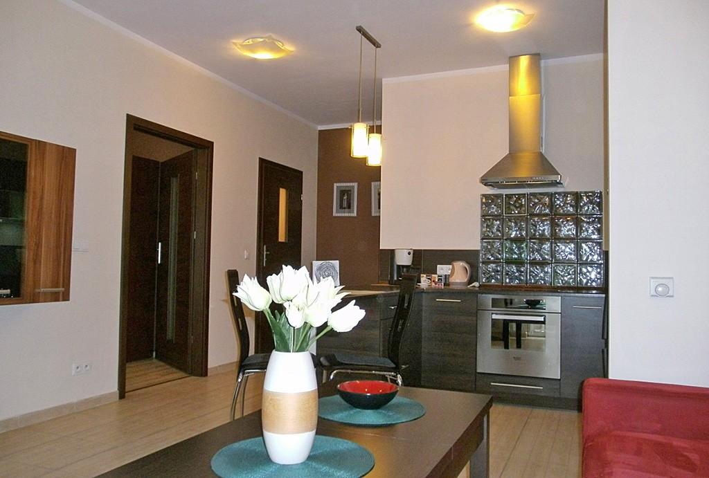na zdjęciu widok na aneks kuchenny oraz rozmieszczenie pokoi w apartamencie na wynajem w Katowicach