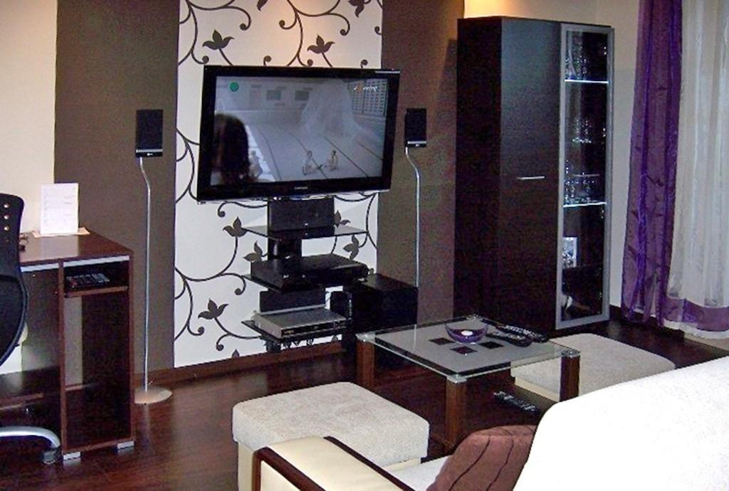 na zdjęciu fragment salonu ze sprzętem RTV w apartamencie na wynajem w Szczecinie