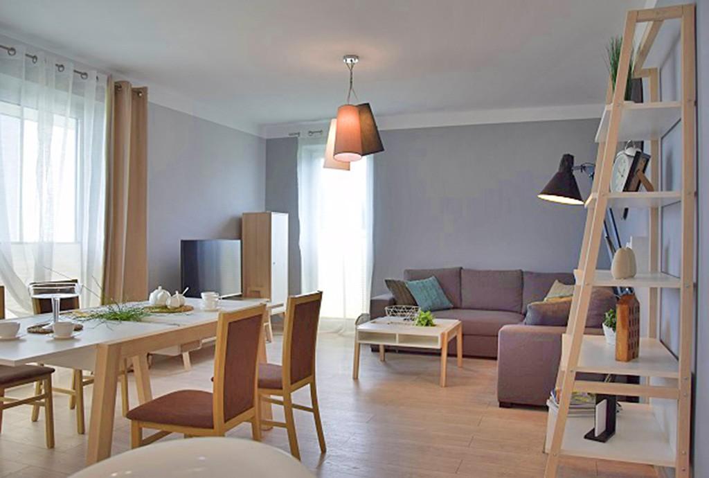 na zdjęciu salon w ekskluzywnym apartamencie do wynajmu w okolicy Słupska