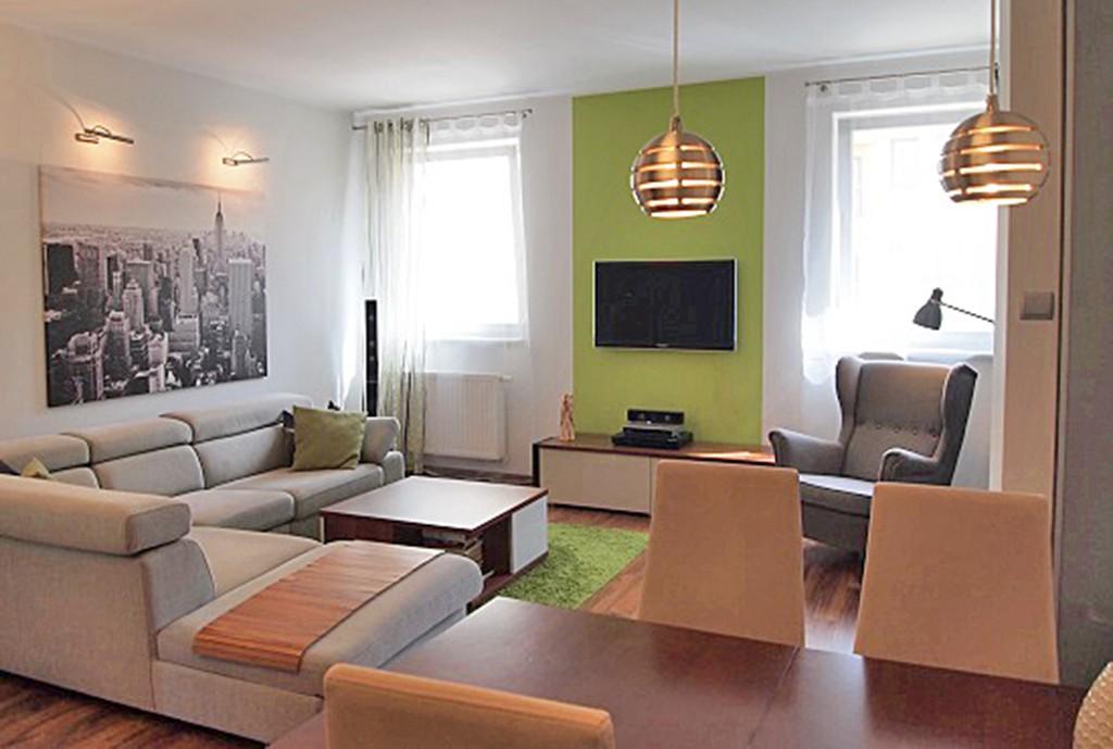na zdjęciu nowoczesny salon w apartamencie do sprzedaży w Szczecinie