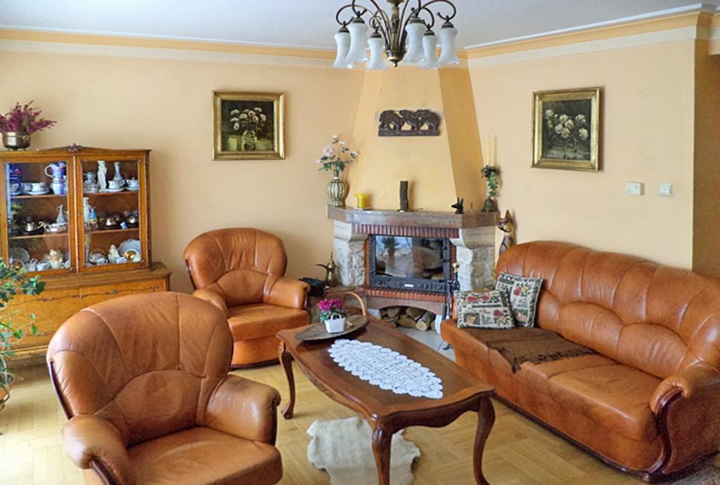 na zdjęciu salon z kominkiem w luksusowej willi w Katowicach na sprzedaż