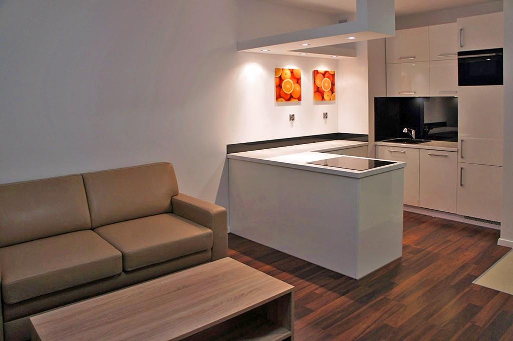 widok z salonu na aneks kuchenny w apartamencie do wynajęcia w Szczecinie