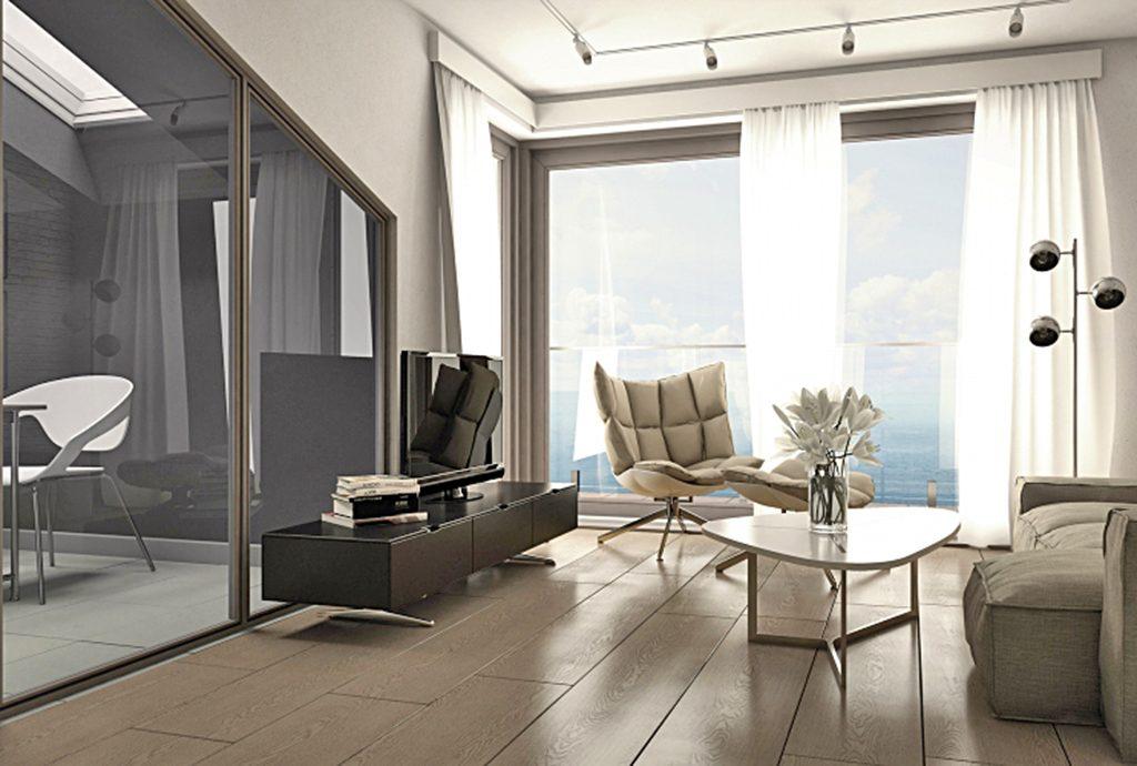 luksusowy salon w apartamencie do sprzedaży nad morzem