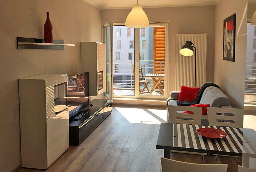 salon w nowoczesnym apartamencie do wynajęcia w Katowicach