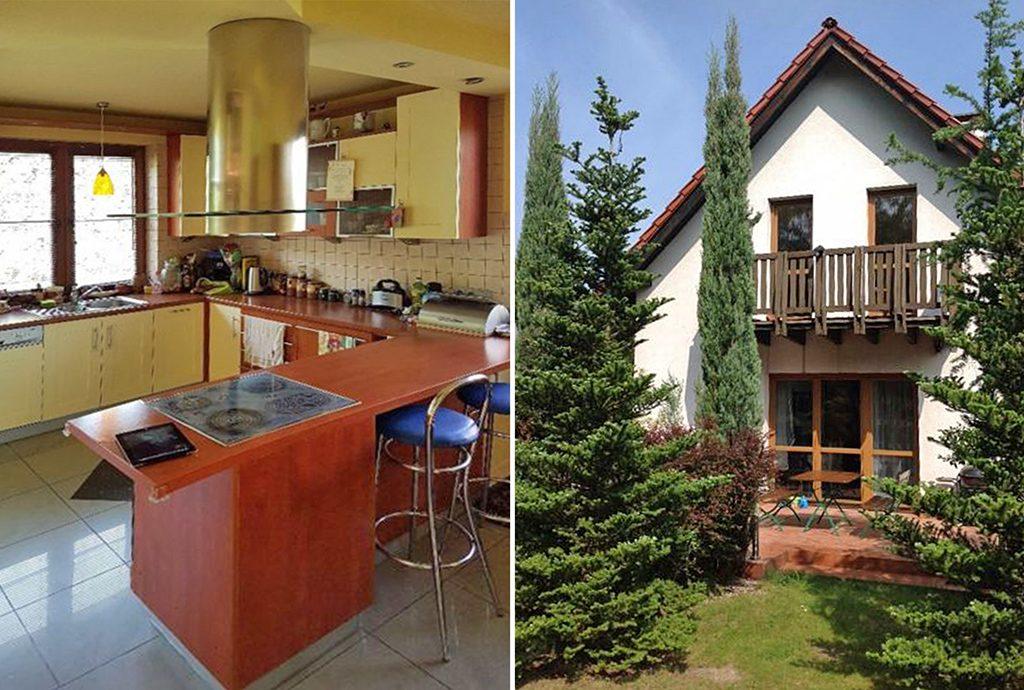 zdjęcie prezentuje po prawej luksusową willę do sprzedaży w okolicy Katowic a po lewej kuchnię w tejże willi