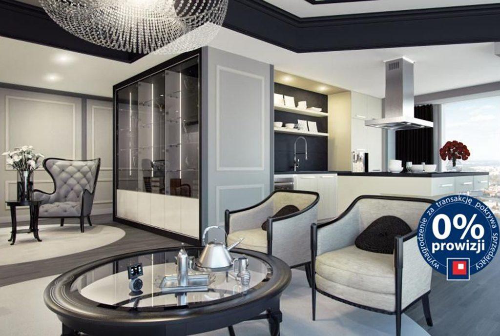 nowoczesny salon w ekskluzywnym apartamencie do sprzedaży nad morzem