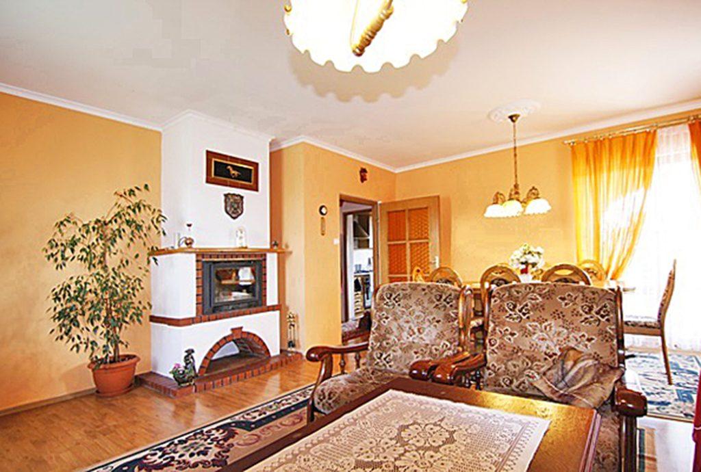 luksusowy salon z kominkiem w ekskluzywnej willi do sprzedaży w okolicach Sieradza