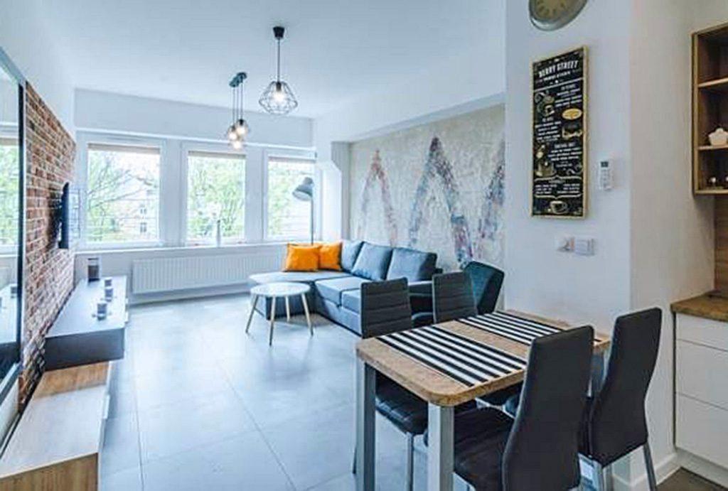 nowoczesny salon w luksusowym apartamencie do wynajęcia w Krakowie