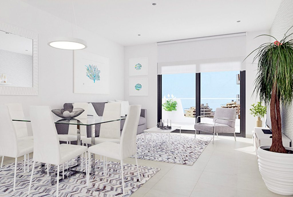 nowoczesny salon w ekskluzywnym apartamencie do sprzedaży w Hiszpanii