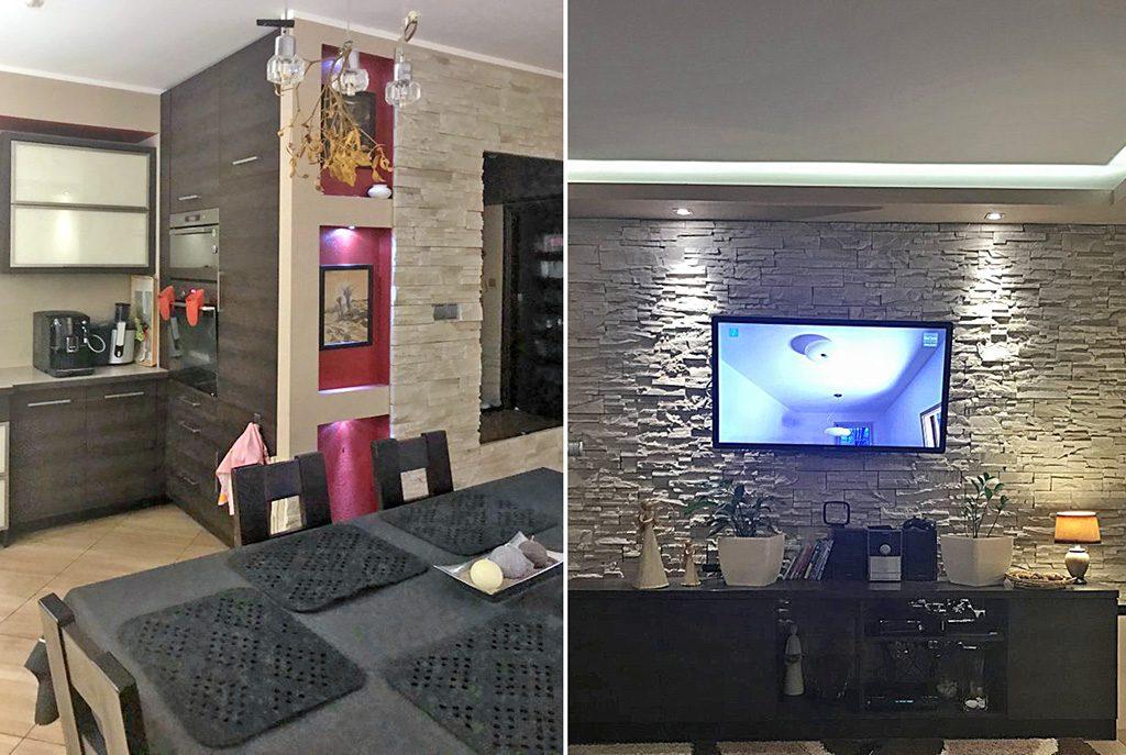 na zdjęciach prestiżowy salon w ekskluzywnym apartamencie do sprzedaży w Kaliszu