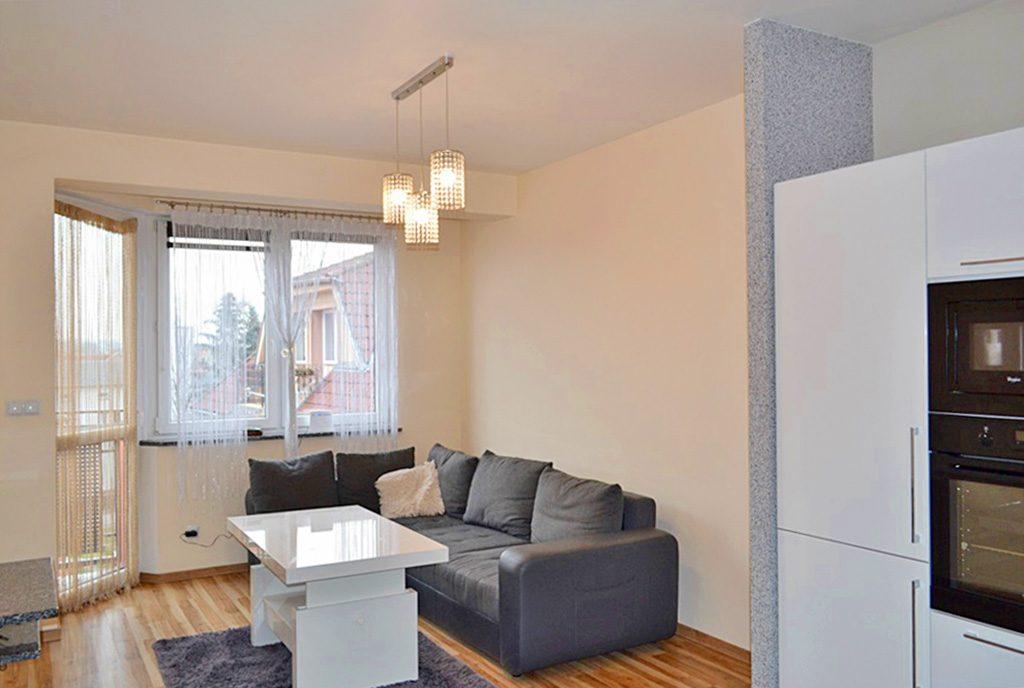 na zdjęciu luksusowy salon w ekskluzywnym apartamencie do wynajęcia w Bolesławcu