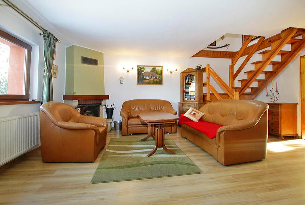komfortowy salon z kominkiem w ekskluzywnej willi do sprzedaży w okolicach Szczecina