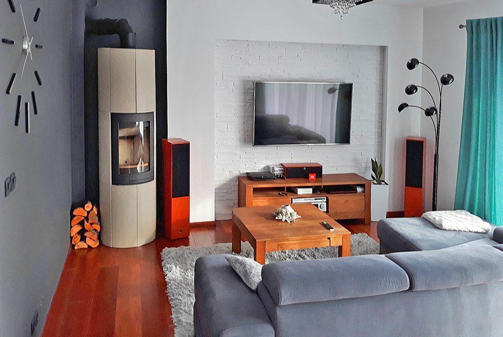 nowoczesny salon z kominkiem w ekskluzywnej willi do wynajęcia w Szczecinie