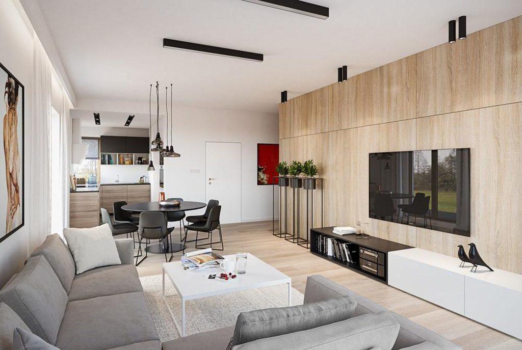 nowoczesny salon w ekskluzywnym apartamencie do sprzedaży w Częstochowie