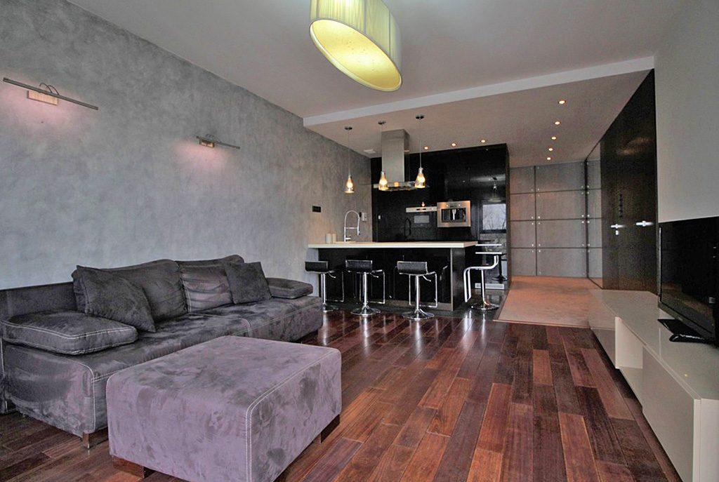 nowoczesne wnętrze kuchni w ekskluzywnym apartamencie do wynajęcia w Krakowie