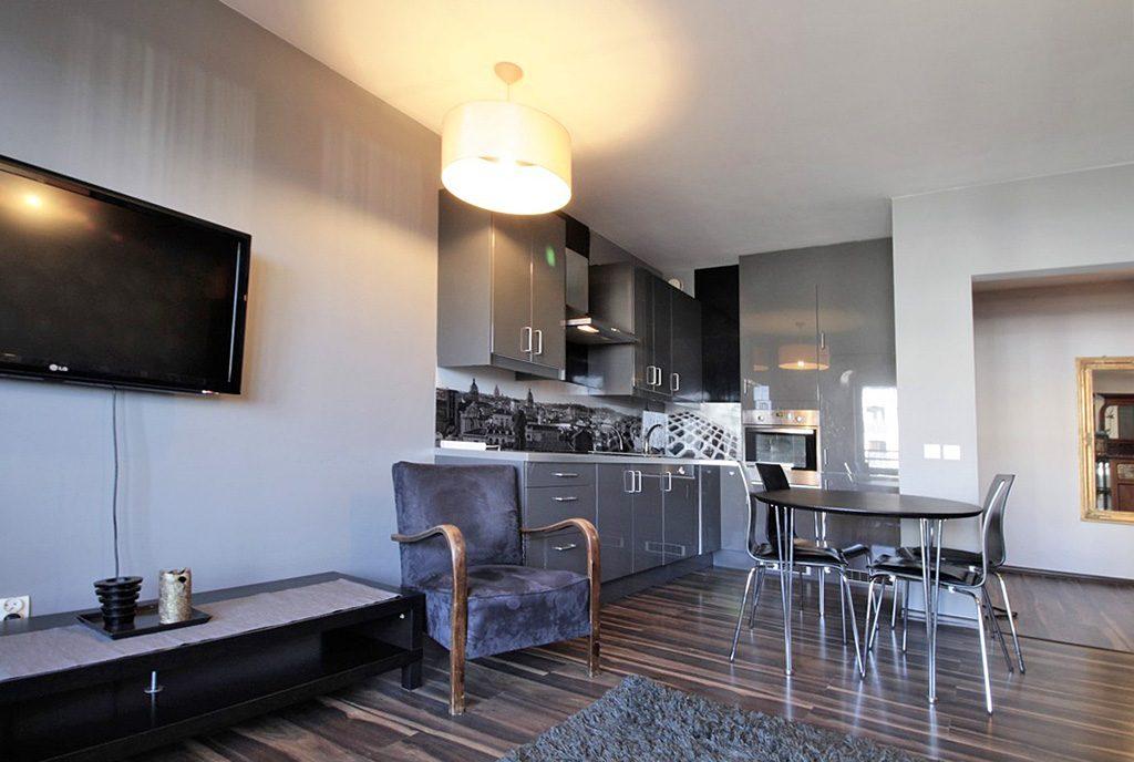 nowoczesne wnętrze i kuchnia w ekskluzywnym apartamencie do wynajęcia w Krakowie