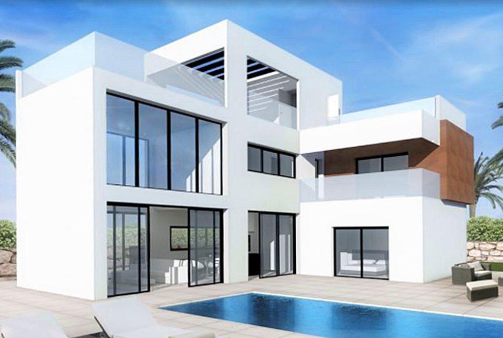 front nowoczesnej willi z basenem do sprzedaży w Hiszpanii