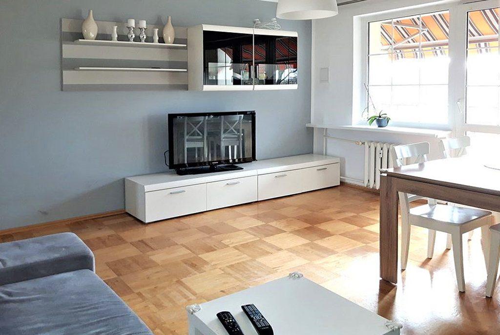 zaprojektowany w nowoczesnym designie salon ekskluzywnego apartamentu do sprzedaży w Szczecinie