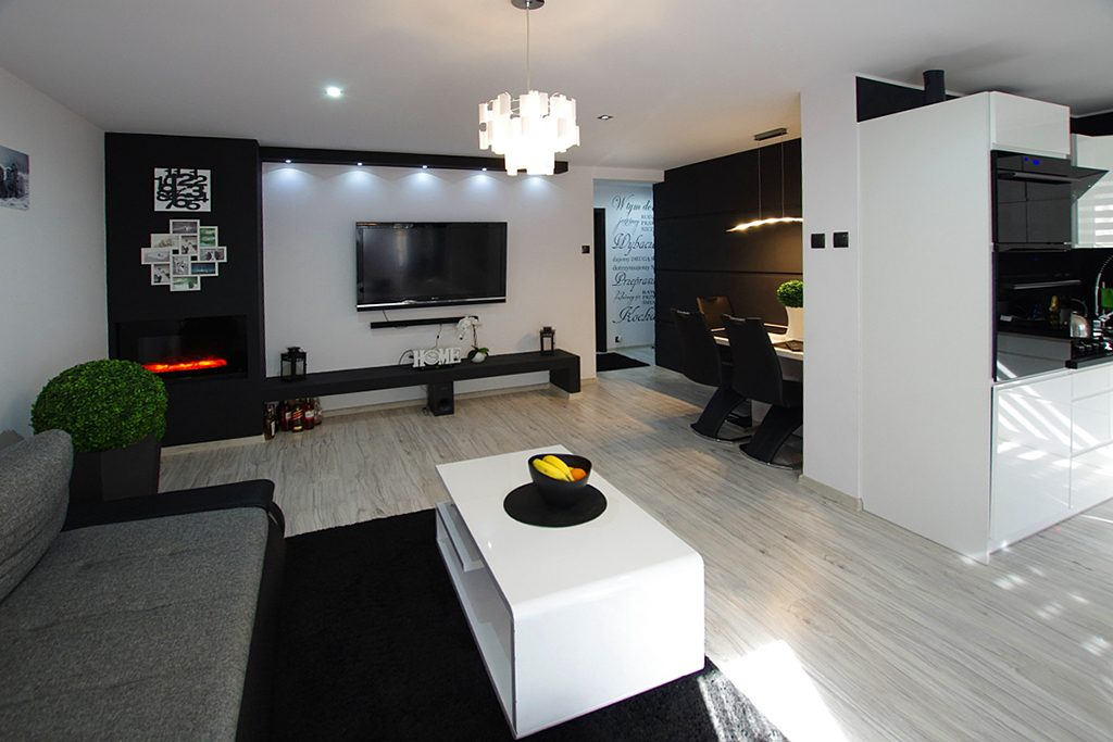 nowoczesny salon w ekskluzywnym apartamencie do sprzedaży w okolicach Legnicy