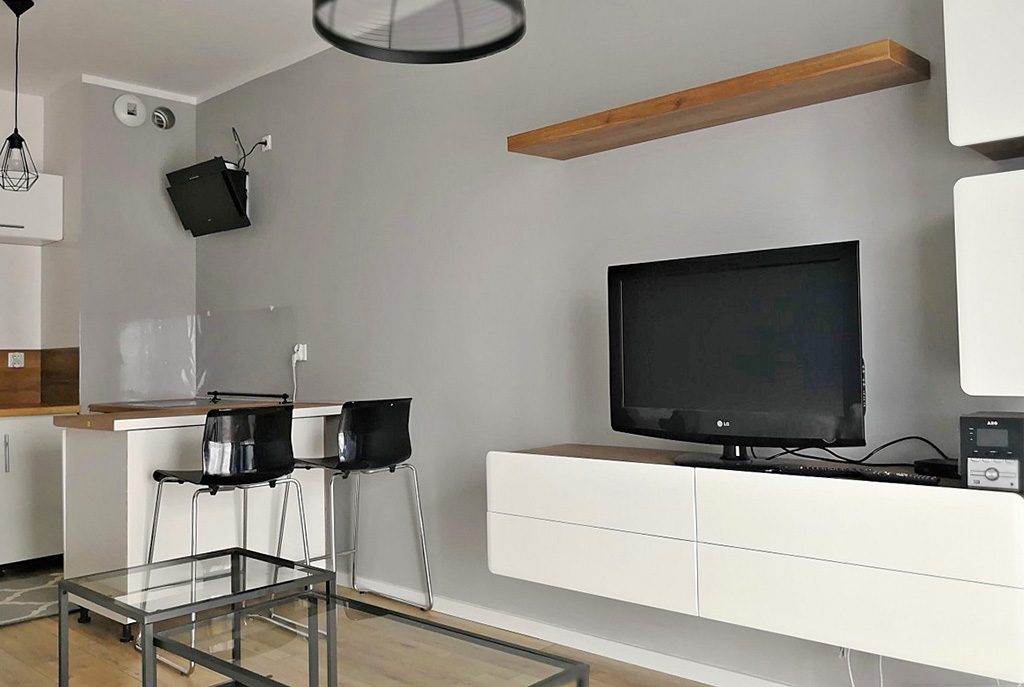 nowoczesny salon w ekskluzywnym apartamencie do wynajęcia w Krakowie