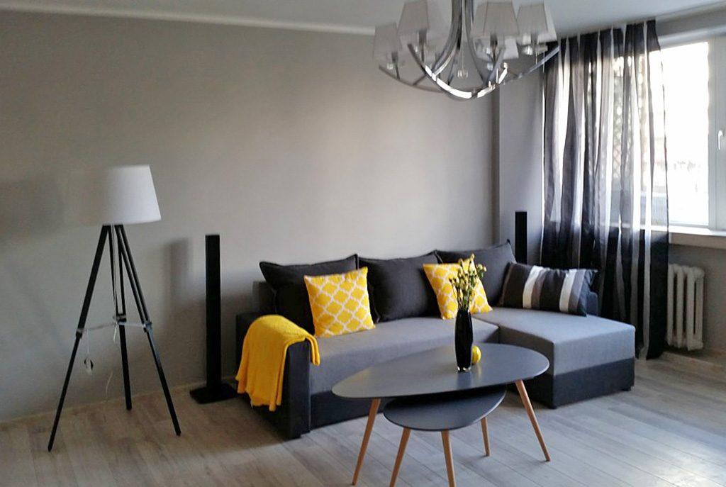 nowoczesny salon w ekskluzywnym apartamencie do wynajęcia w Katowicach