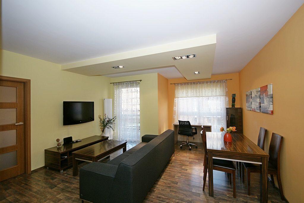 nowocześnie zaprojektowane i urządzone wnętrze salonu w luksusowym apartamencie do wynajęcia w Katowicach