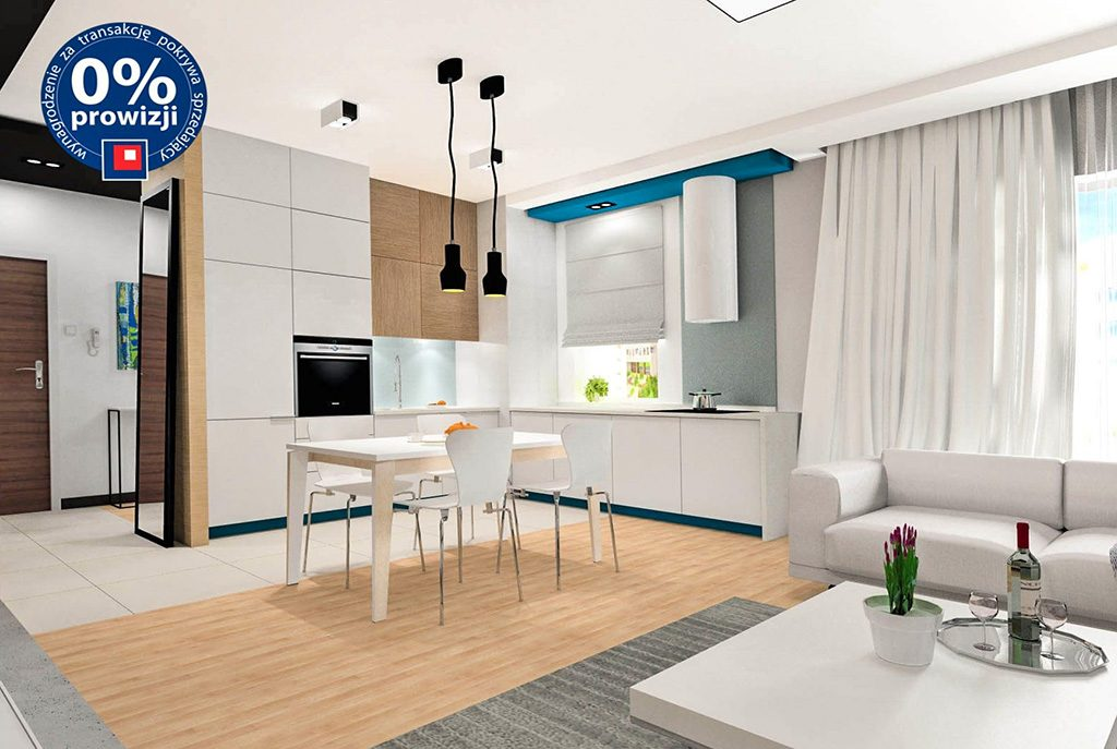 wizualizacja wnętrza w nowoczesnym designie ekskluzywnego apartamentu do sprzedaży w Krakowie