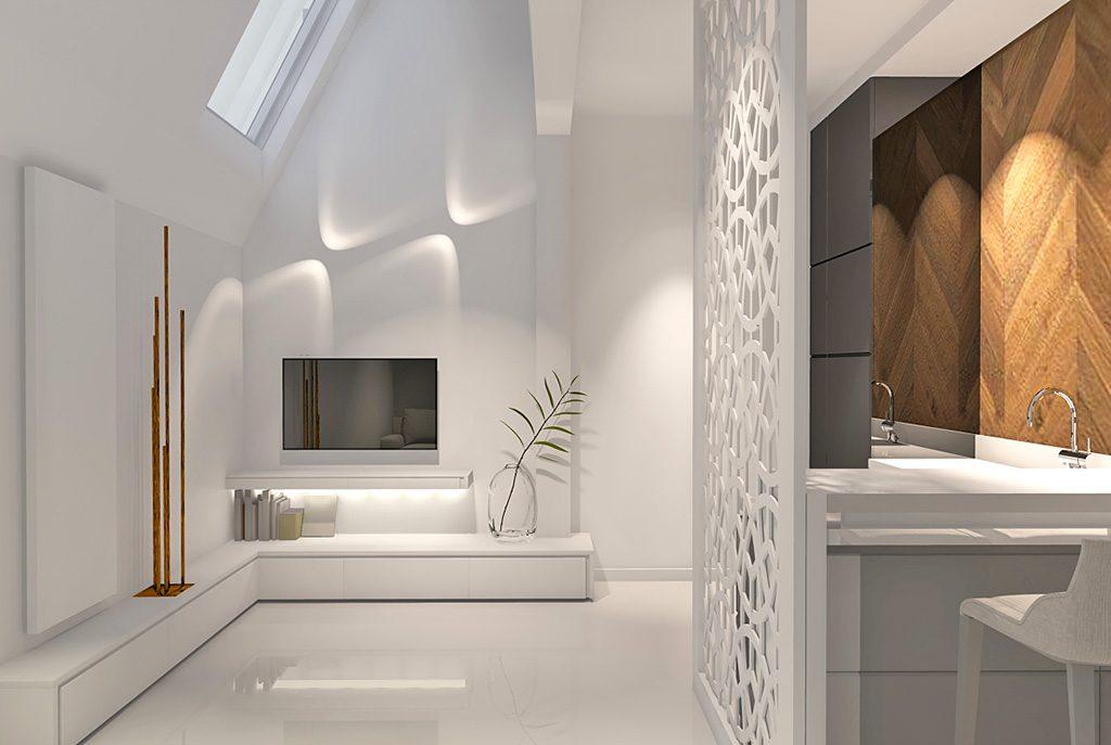 wizualizacja nowocześnie urządzonego salonu w ekskluzywnym apartamencie do sprzedaży w Szczecinie