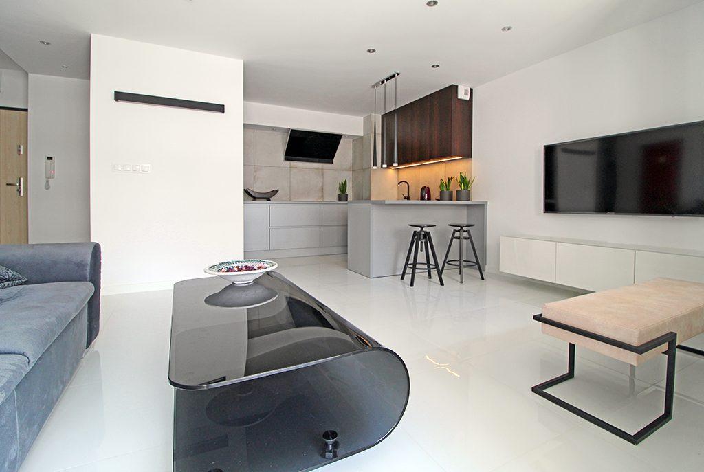 nowoczesny design wnętrza ekskluzywnego apartamentu do wynajęcia w Krakowie
