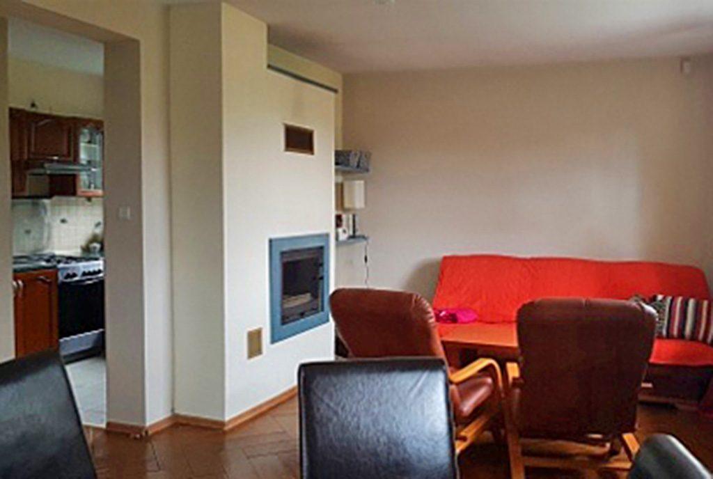 nowoczesny salon z kominkiem w ekskluzywnej willi do sprzedaży w okolicach Bielska-Białej