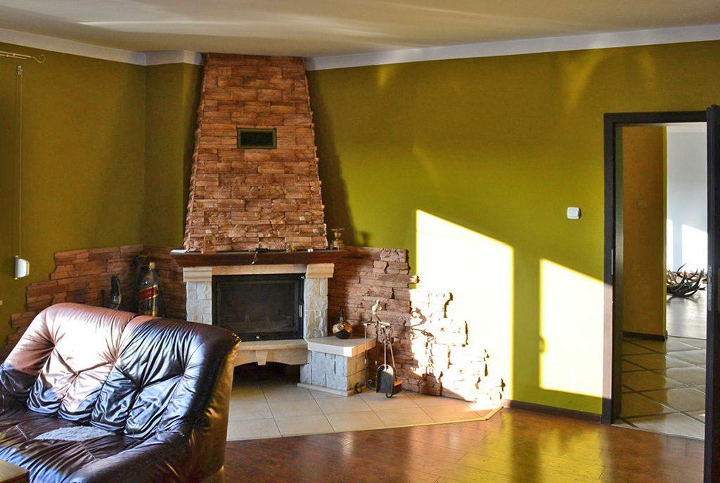 komfortowy salon z kominkiem w ekskluzywnej willi do sprzedaży w okolicach Leszna