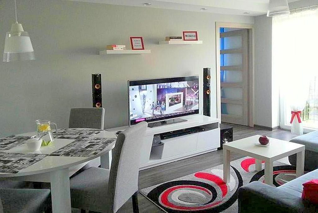 nowoczesny salon w luksusowym apartamencie do sprzedaży w okolicach Katowic