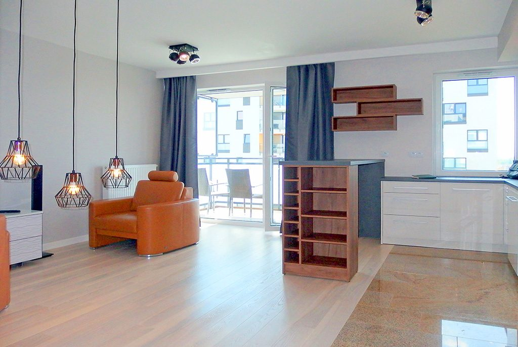 nowoczesne i przestronne wnętrze ekskluzywnego apartamentu do wynajęcia we Wrocławiu