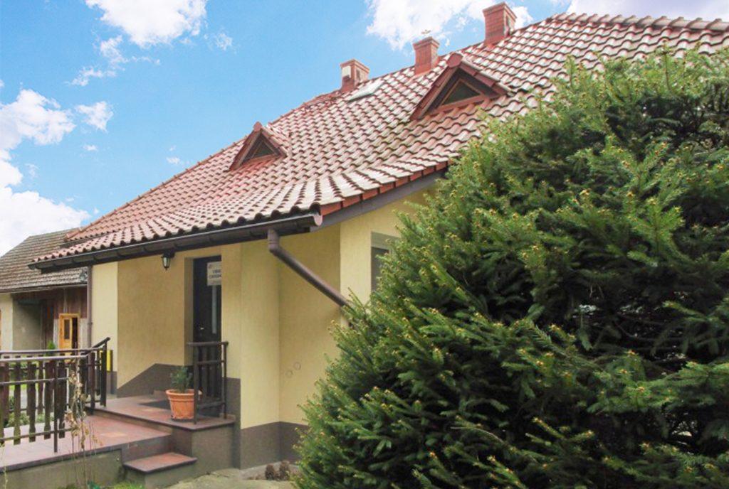 reprezentacyjne wejście do luksusowej willi na sprzedaż w okolicach Krakowa