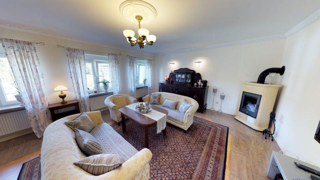stylowe wnętrze salonu w ekskluzywnym apartamencie do sprzedaży w Szczecinie