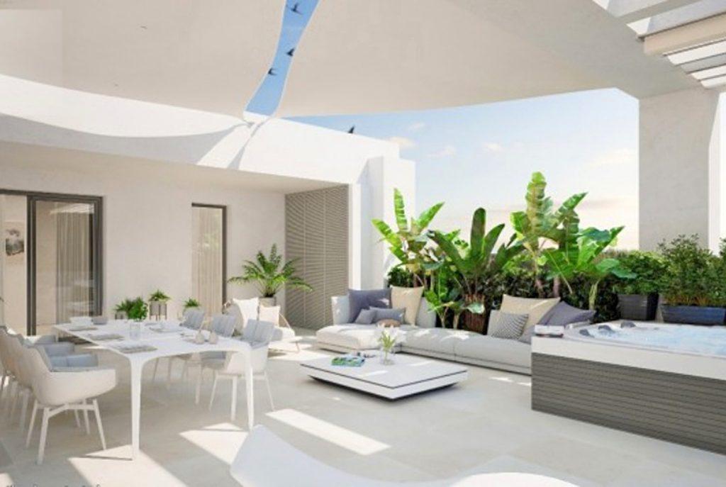 ekskluzywny taras przy luksusowym apartamencie do sprzedaży w Hiszpanii