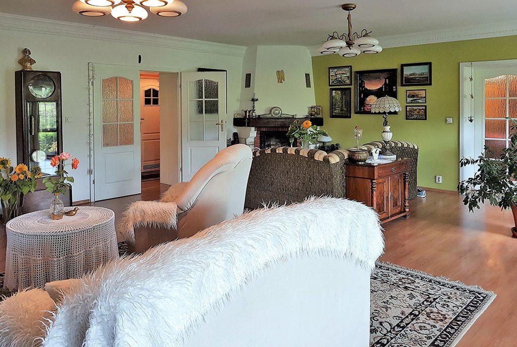 elegancki salon z kominkiem w luksusowej willi do sprzedaży w Ustroniu