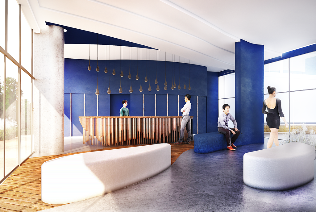 prestiżowe lobby w apartamentowcu nad morzem, gdzie mieści się oferowany na sprzedaż ekskluzywny apartament