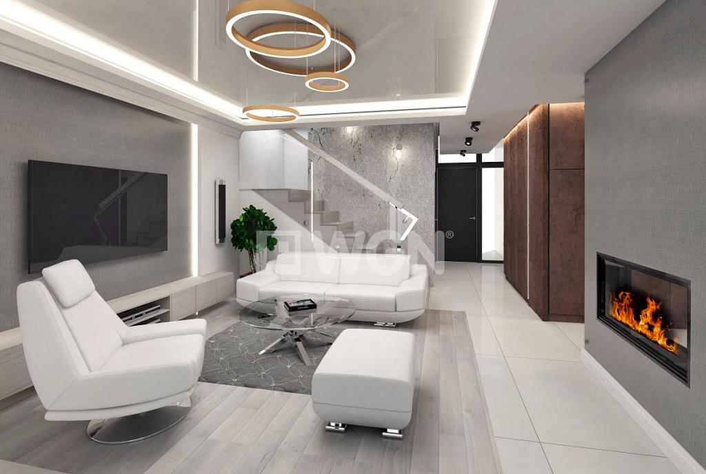 nowocześnie zaprojektowany salon w ekskluzywnej willi do sprzedaży na Mazurach