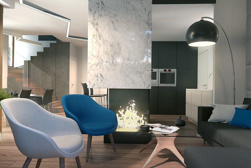 widok z innej perspektywy na komfortowy salon w luksusowej willi do sprzedaży w okolicach Łodzi