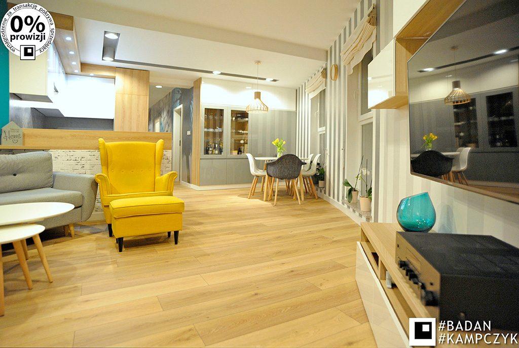 zaprojektowane w nowoczesnym designie wnętrze salonu ekskluzywnego apartamentu do sprzedaży Katowice