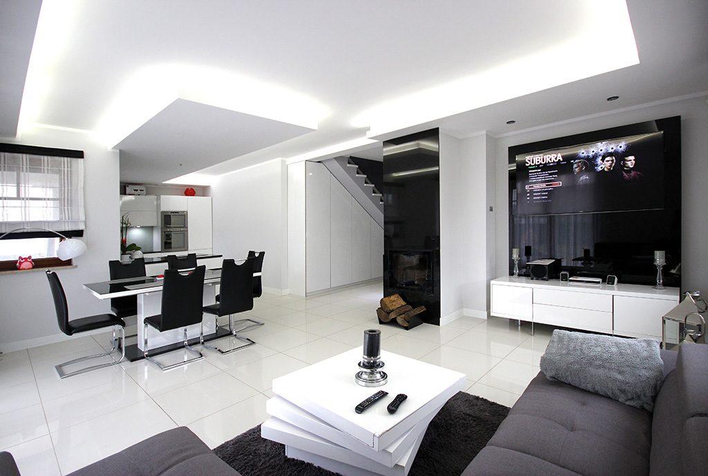 nowoczesny salon w ekskluzywnej willi do sprzedaży Szczecin (okolice)