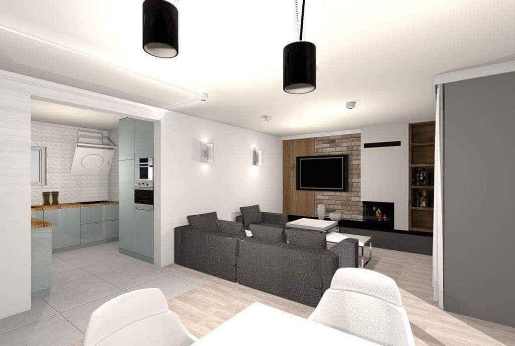nowoczesne wnętrze salonu w ekskluzywnym apartamencie do sprzedaży Chrzanów (okolice)