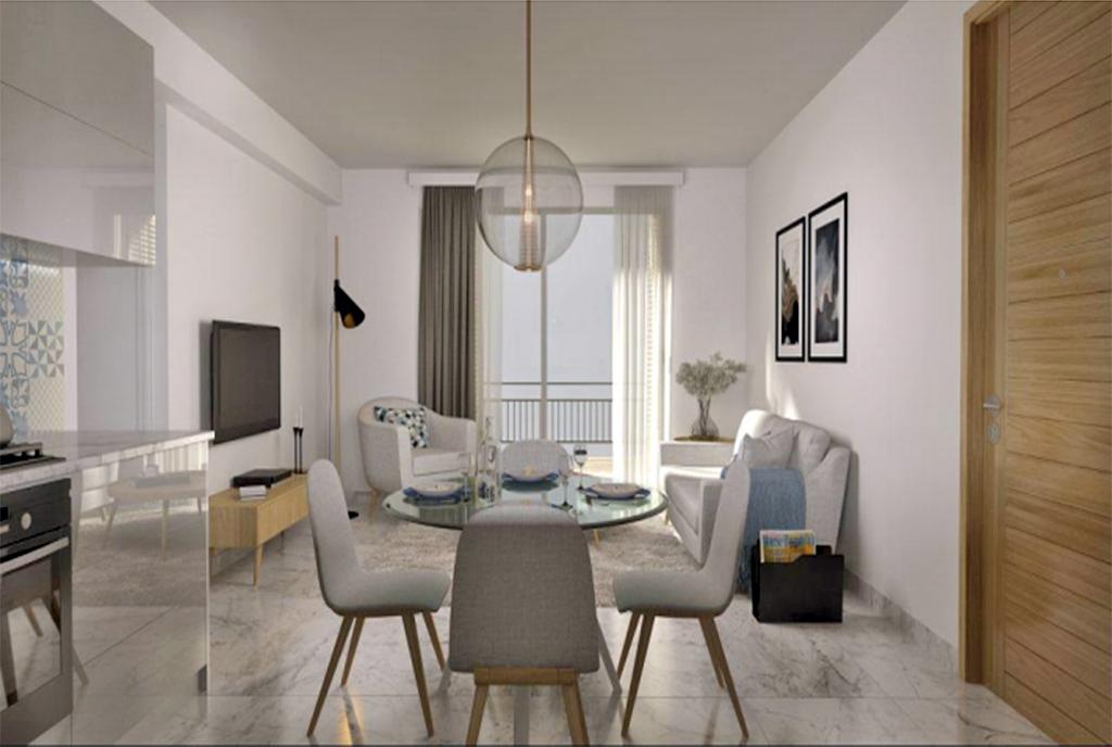 słoneczny salon w ekskluzywnym apartamencie do sprzedaży Turcja (Bellapais)