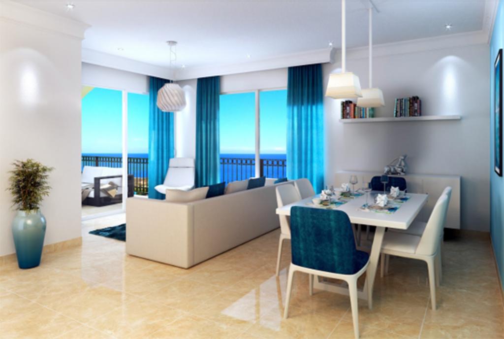 na zdjęciu prestiżowy salon w luksusowym apartamencie do sprzedaży Turcja Cypr (Esentepe)