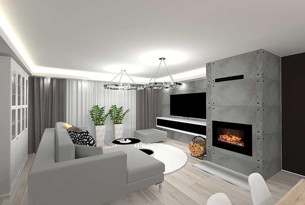 futurystyczny salon z kominkiem w luksusowym apartamencie do sprzedaży Grudziądz