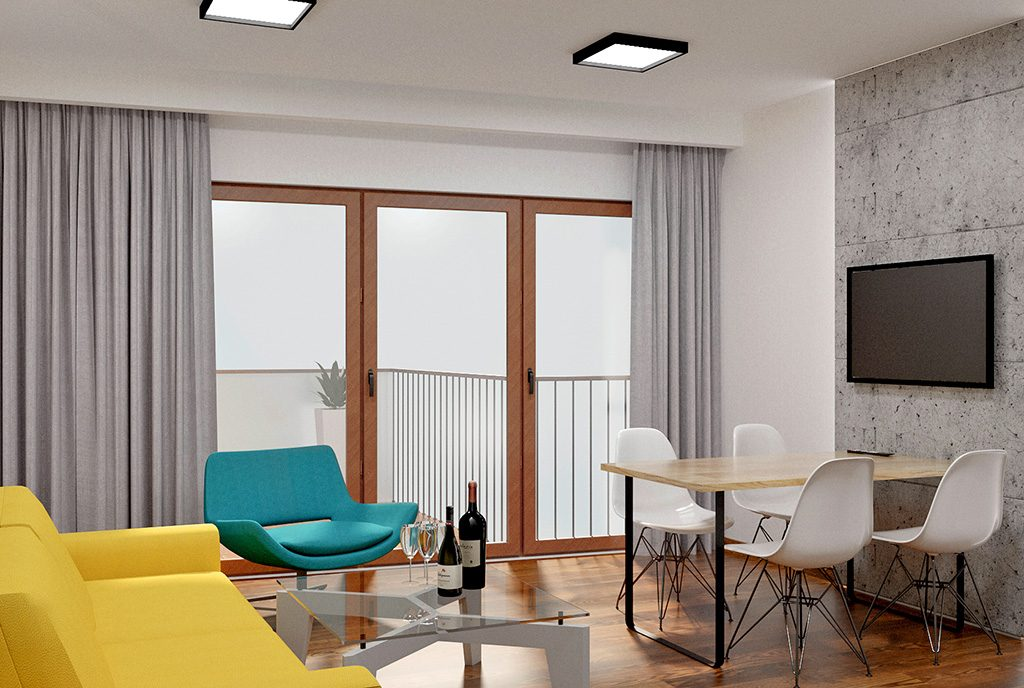nowoczesny salon w ekskluzywnym apartamencie do sprzedaży Częstochowa
