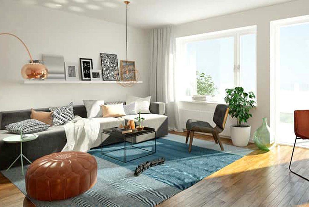 widok z innej perspektywy na luksusowy salon w ekskluzywnym apartamencie do sprzedaży Grudziądz