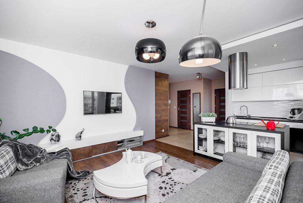 nowoczesny salon w ekskluzywnym apartamencie do sprzedaży Gdańsk
